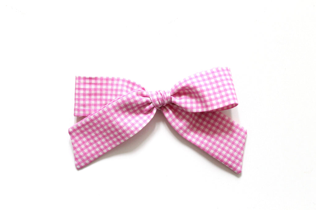 Trixie Gingham in Pink - Oversized Hand-Tied