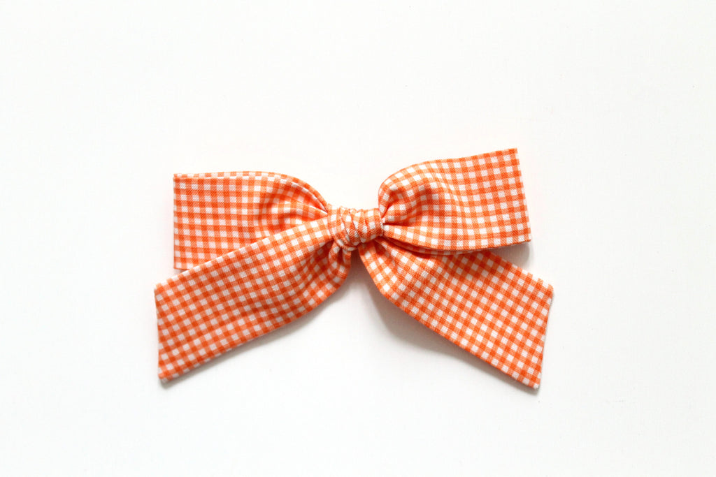 Trixie Gingham in Tangerine - Oversized Hand-Tied
