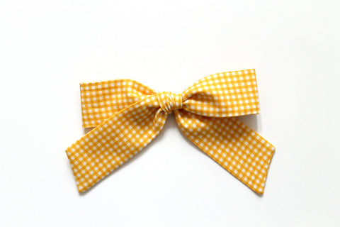 Trixie Gingham in Lemon - Oversized Hand-Tied