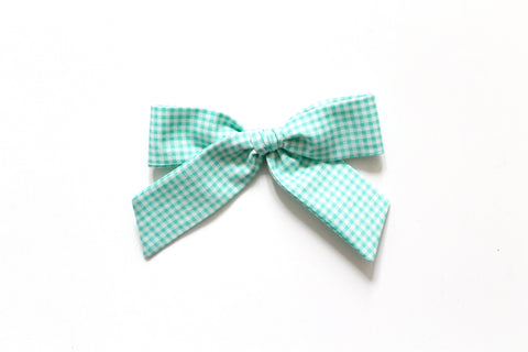 Trixie Gingham in Aqua - Oversized Hand-Tied