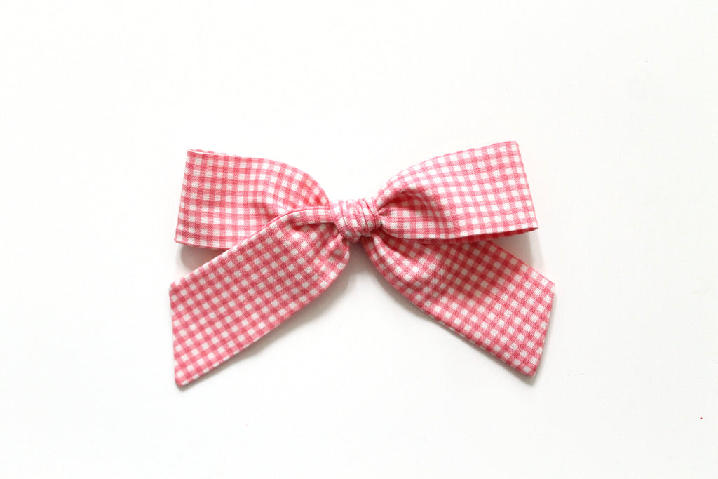 Trixie Gingham in Rose - Oversized Hand-Tied