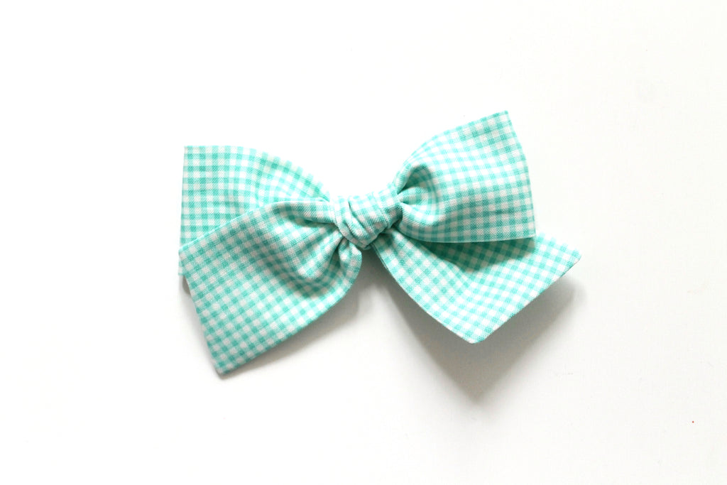 Trixie Gingham in Aqua - Oversized Knot Bow