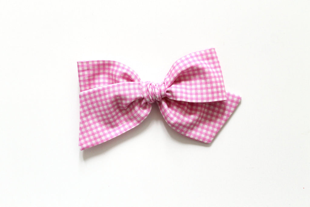 Trixie Gingham in Pink - Oversized Knot Bow