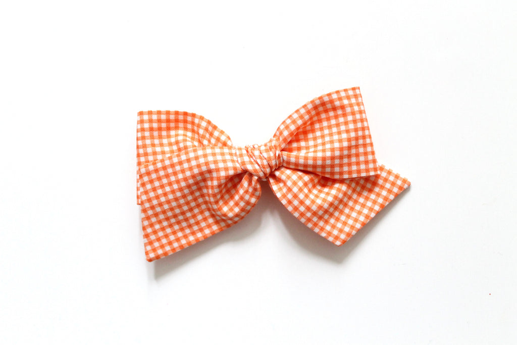 Trixie Gingham in Tangerine - Oversized Knot Bow