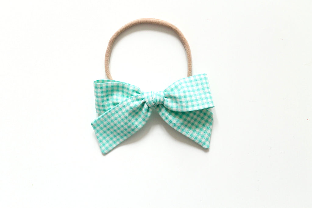 Trixie Gingham in Aqua - Mini Hand-Tied