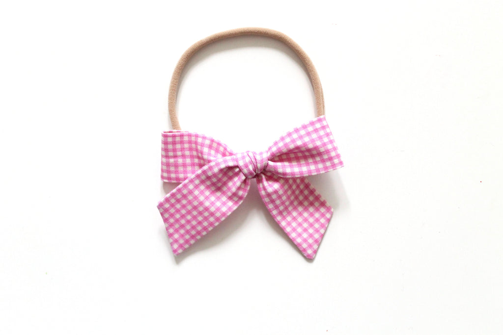 Trixie Gingham in Pink - Mini Hand-Tied
