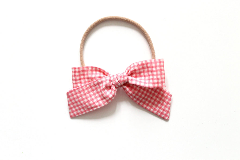 Trixie Gingham in Rose - Mini Hand-Tied