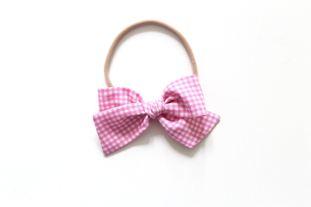 Trixie Gingham in Pink - Mini Knot Bow