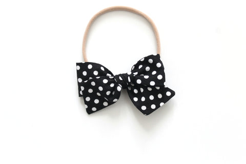 Black and White Dots - Mini Knot Bow