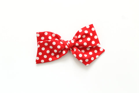 Red & White Minnie Dots - Oversized Knot Bow