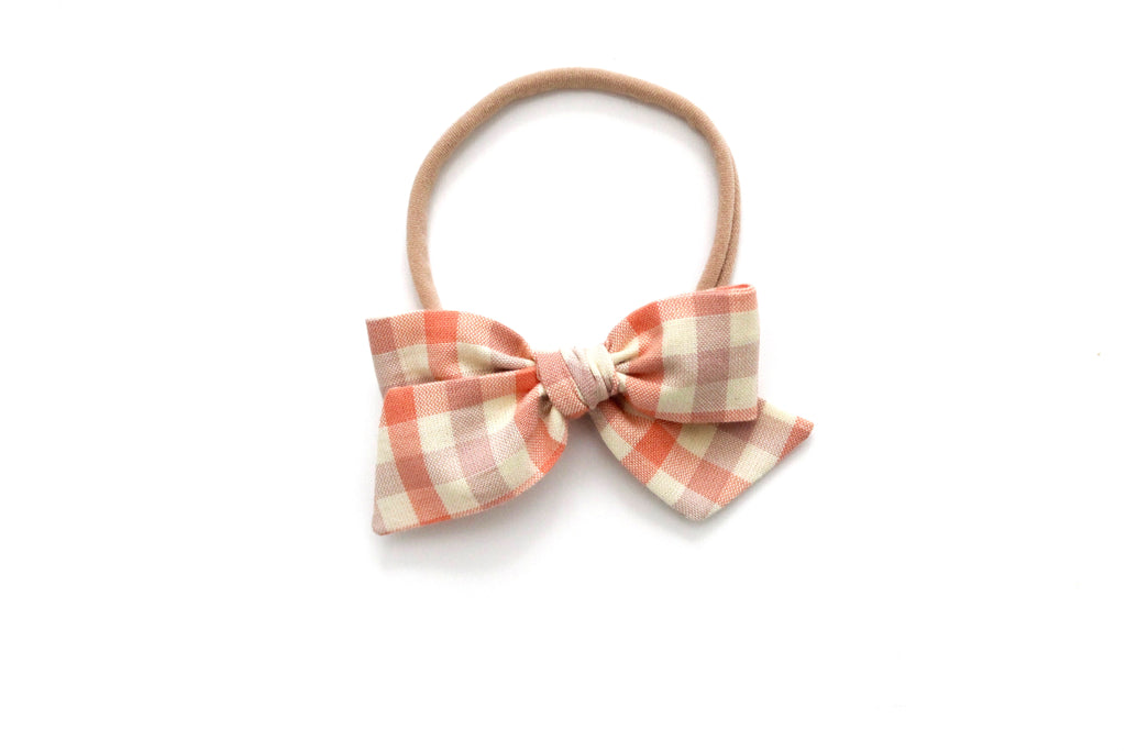 Clementine Gingham - Mini Knot Bow