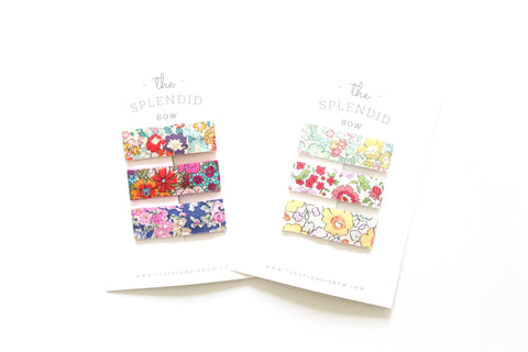 Set of 6 - Liberty of London Floral No. 2 - LARGE Snap Clips
