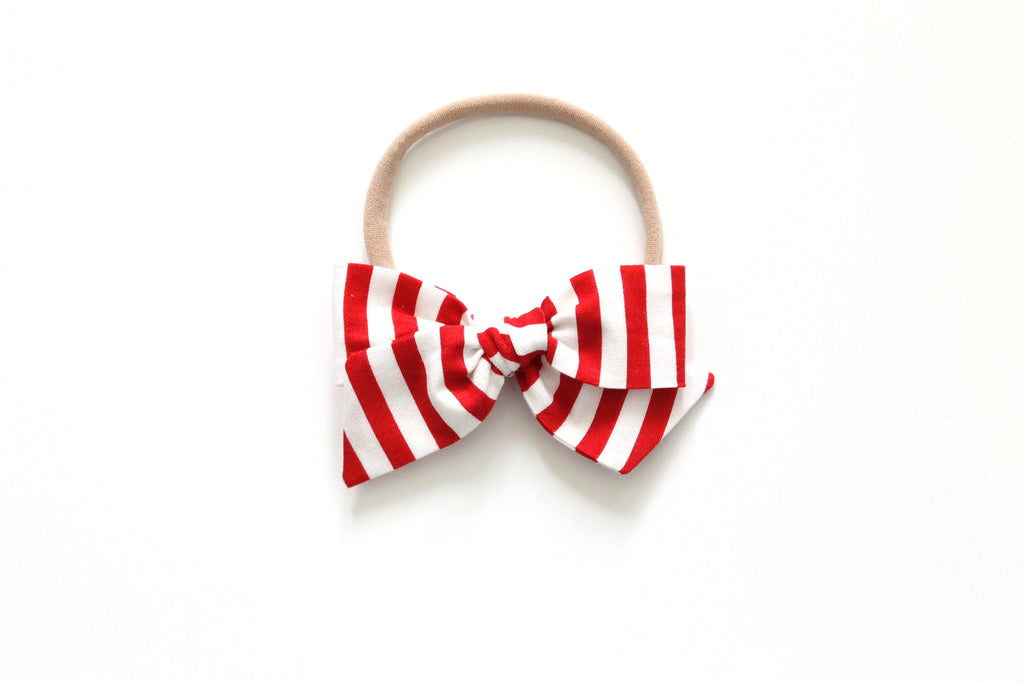 Red and White Stripe - Mini Knot Bow