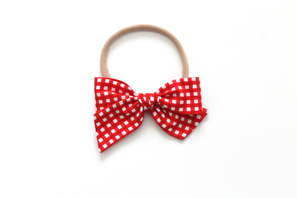 Red Gingham - Mini Knot Bow