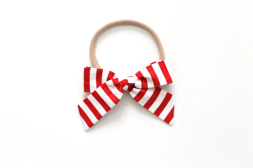 Red and White Stripe - Mini Hand-Tied