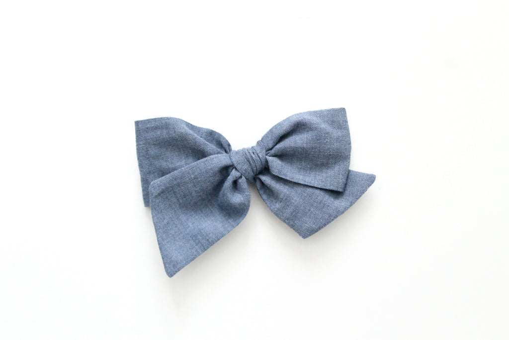 Denim - Woven - Oversized Knot Bow