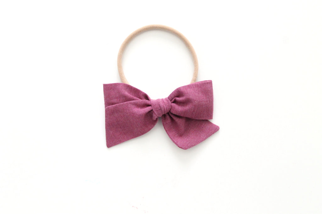 Raspberry - Woven - Mini Knot Bow