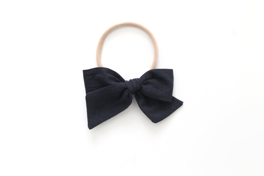 Black - Woven - Mini Knot Bow