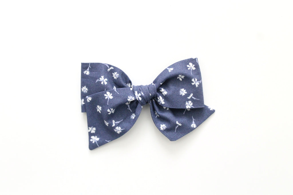 Tossed Flowers in Marlin - Oversized Knot Bow