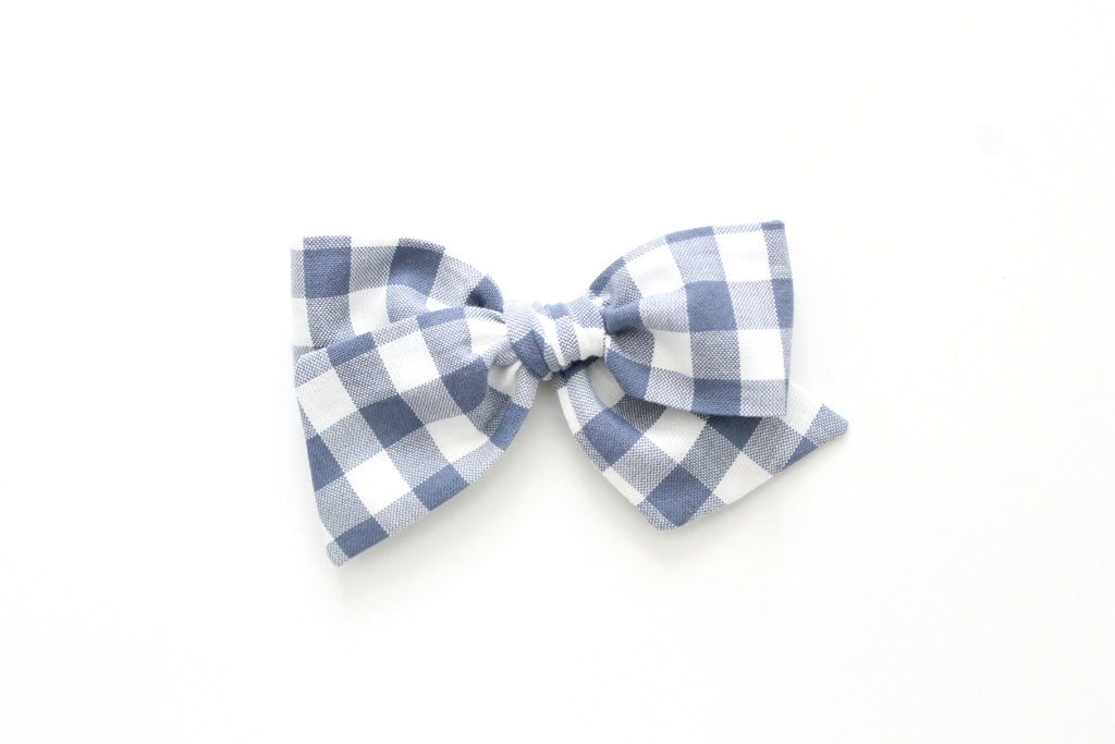 Gingham in Slate - Oversized Knot Bow
