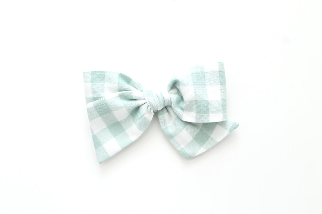 Gingham in Sage - Oversized Knot Bow