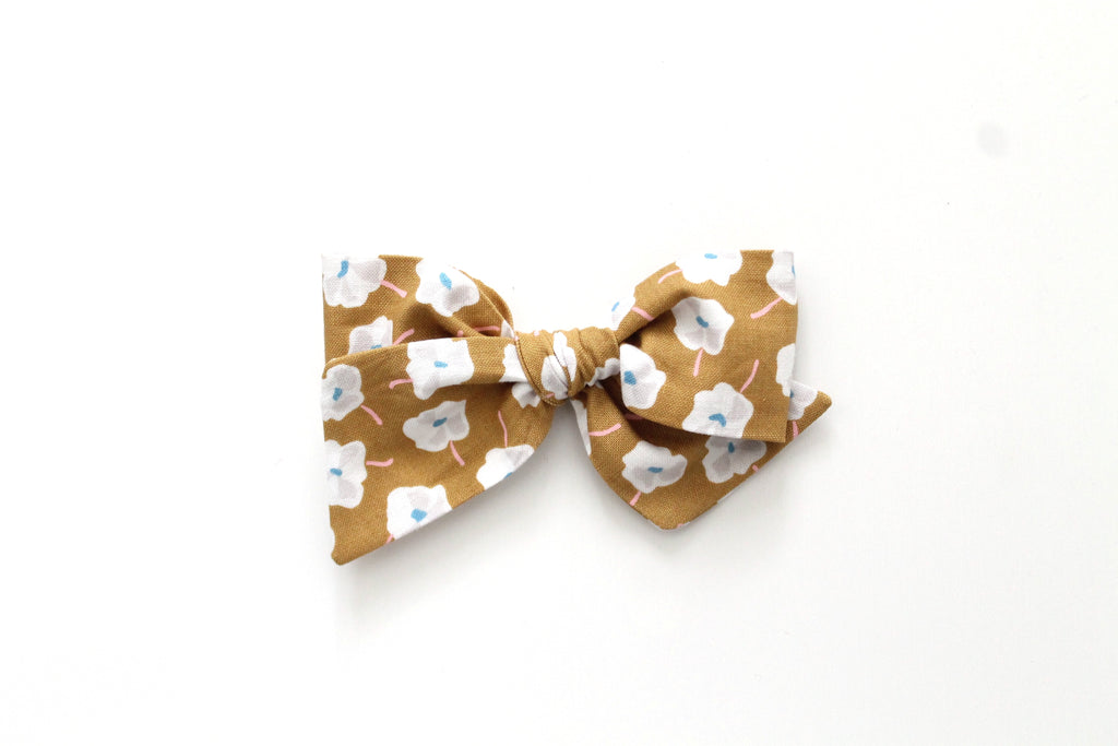 Mustard Brown Floral - Oversized Knot Bow