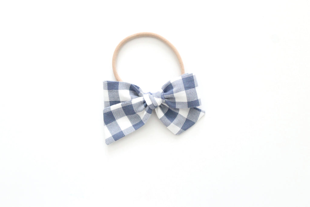 Gingham in Slate- Mini Knot Bow