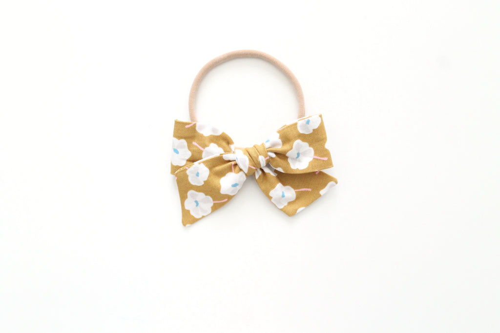 Mustard Brown Floral - Mini Knot Bow