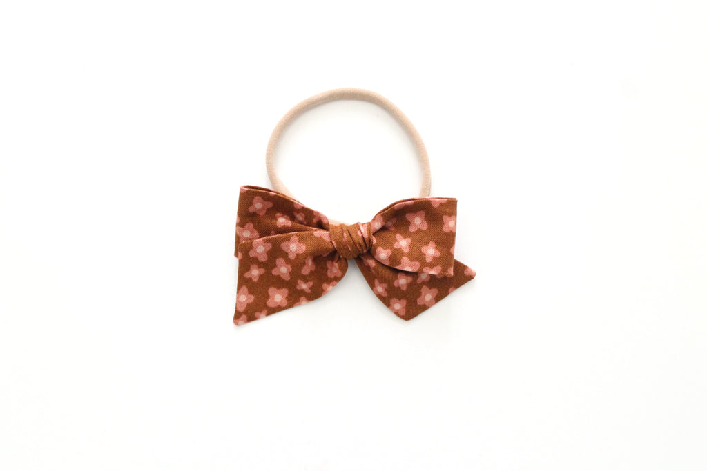 Ditsy in Butterscotch - Mini Knot Bow