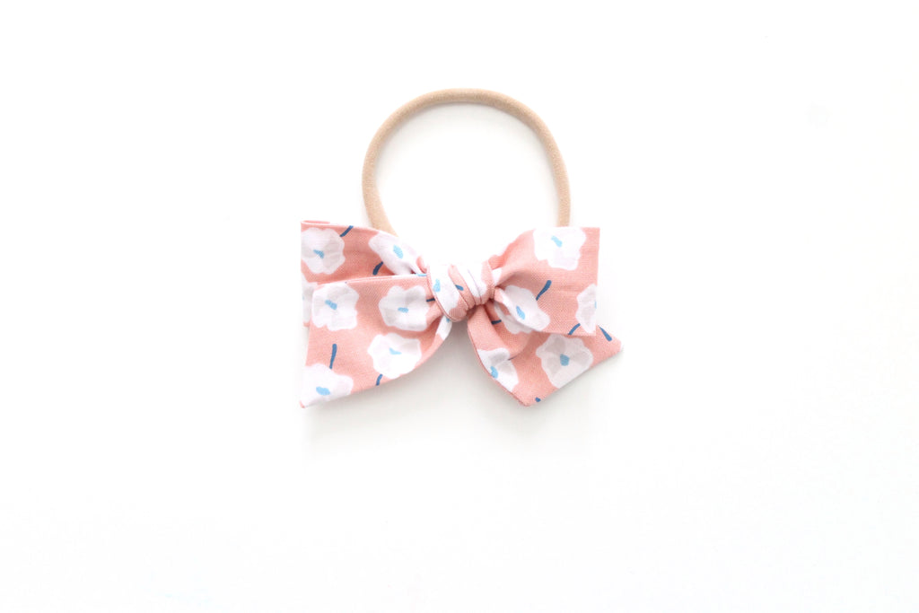 Pink Floral - Mini Knot Bow