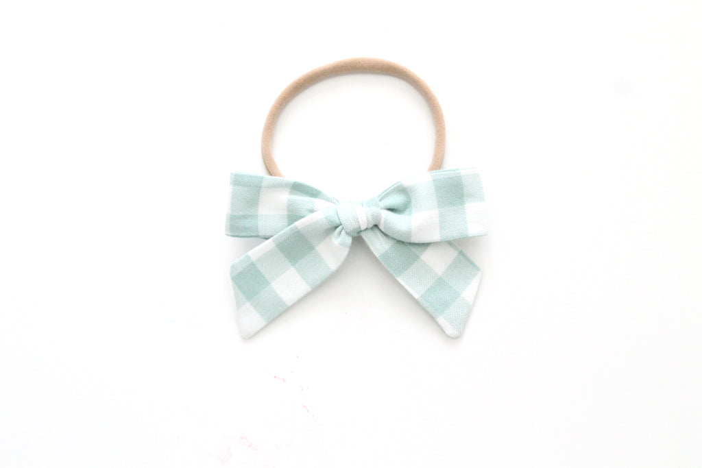 Gingham in Sage - Mini Hand-Tied