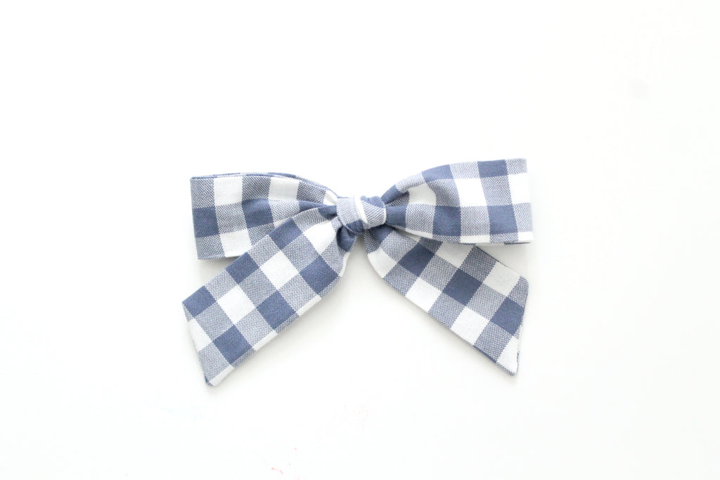 Gingham in Slate - Oversized Hand-Tied