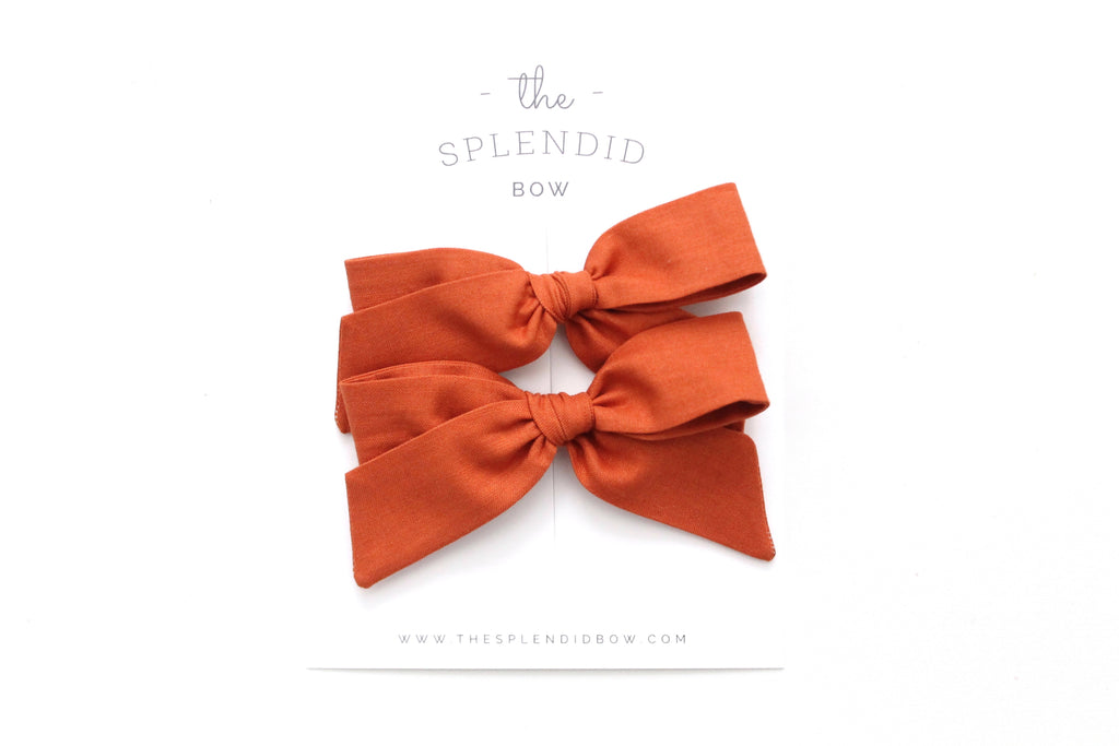 Pumpkin - Pigtail Set - Mini Hand-Tied