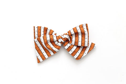 BOO Stripe in Orange - Oversized Knot Bow