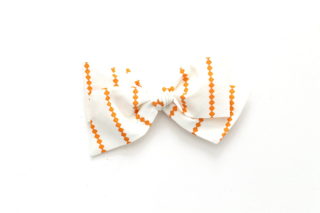 Orange Diamond Stripe - Oversized Knot Bow