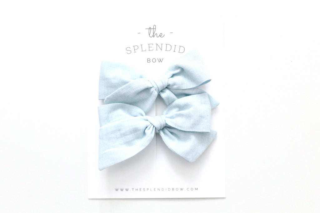 Ice - Woven - Pigtail Set - Mini Knot Bow