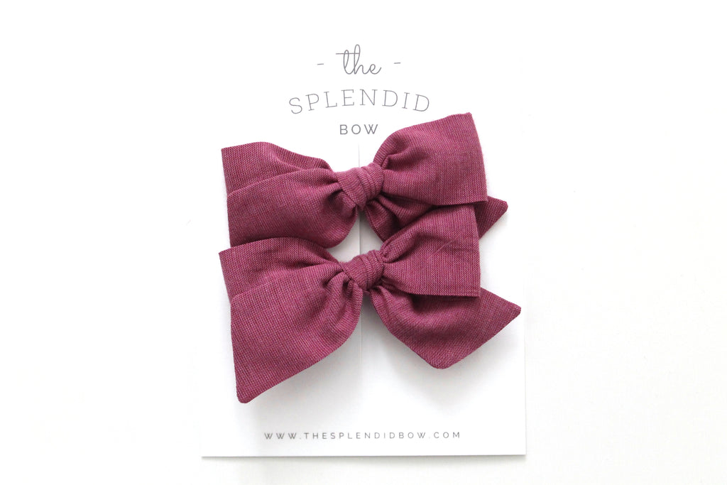 Raspberry - Woven - Pigtail Set - Mini Knot Bow