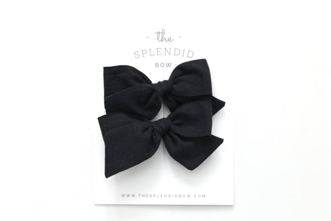 Black - Woven - Pigtail Set - Mini Knot Bow