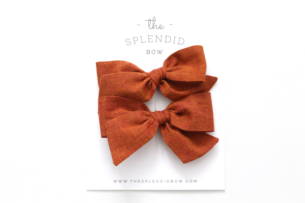 Ginger - Woven - Pigtail Set - Mini Knot Bow