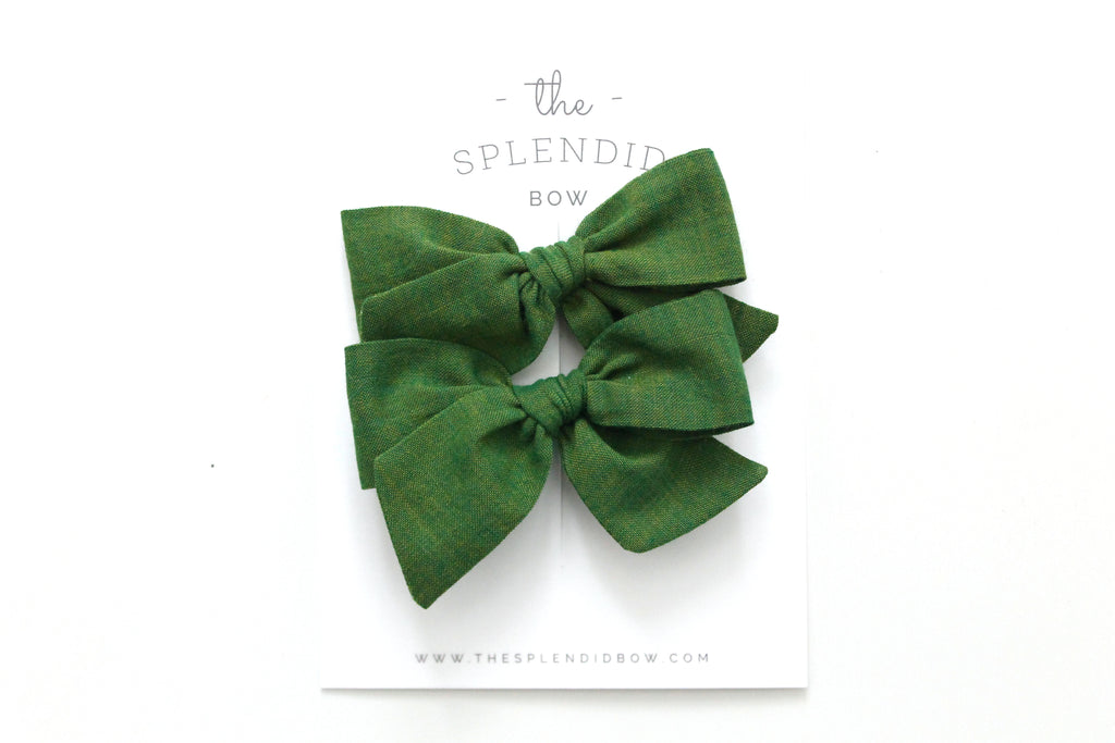 Moss - Woven - Pigtail Set - Mini Knot Bow