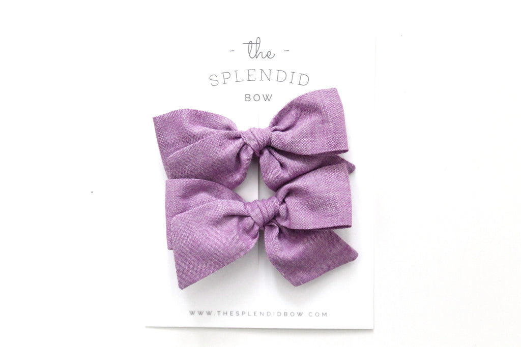 Lilac - Woven - Pigtail Set - Mini Knot Bow