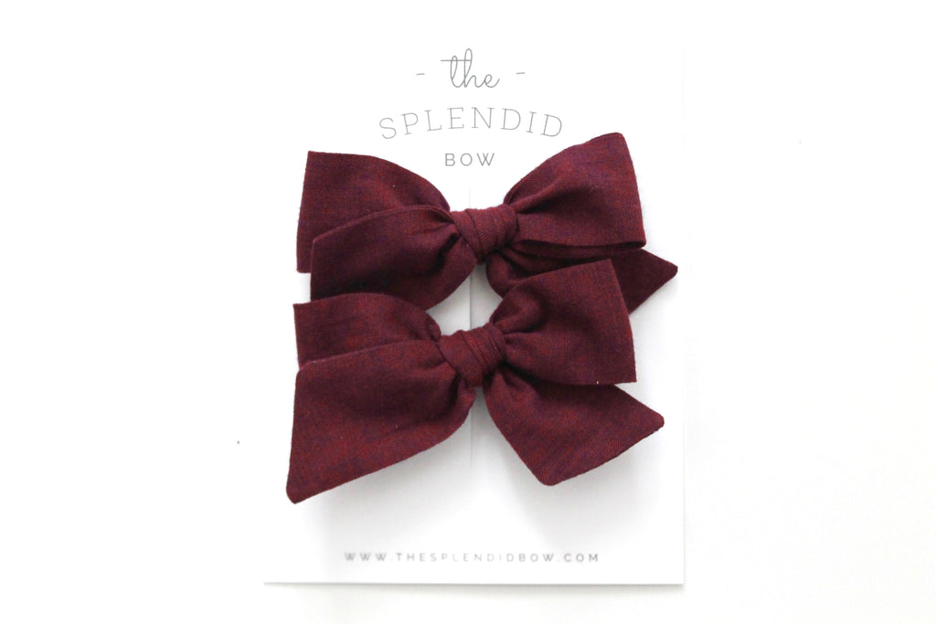 Bordeaux - Woven - Pigtail Set - Mini Knot Bow