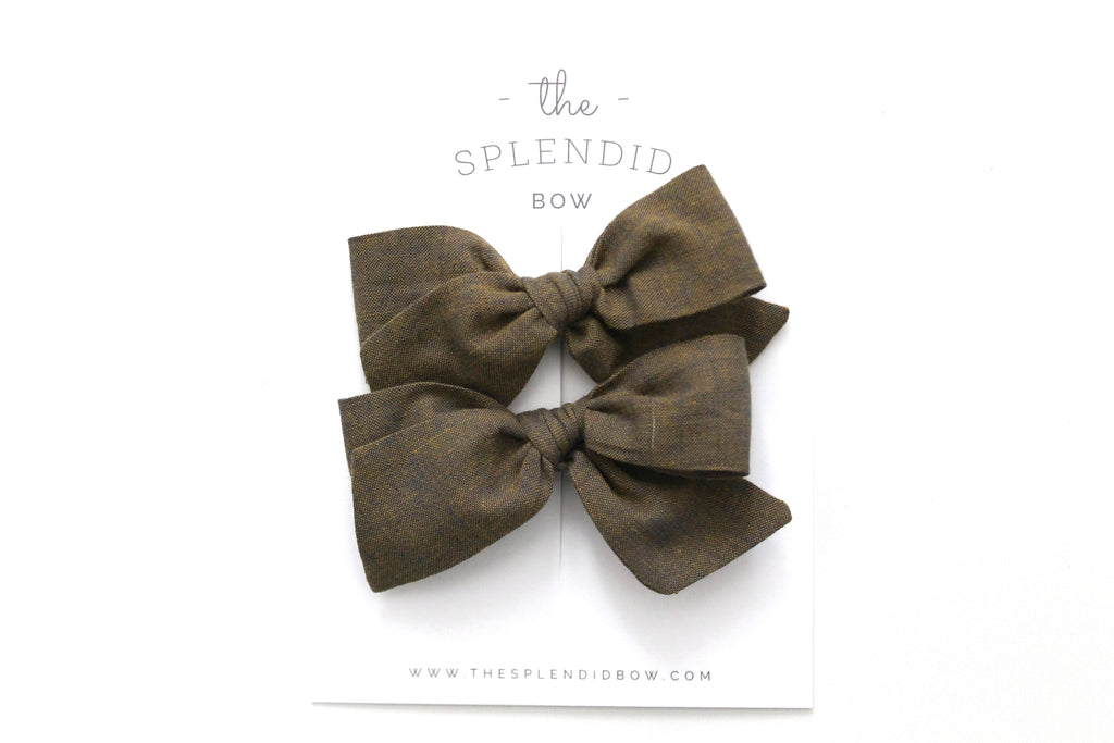Army - Woven - Pigtail Set - Mini Knot Bow