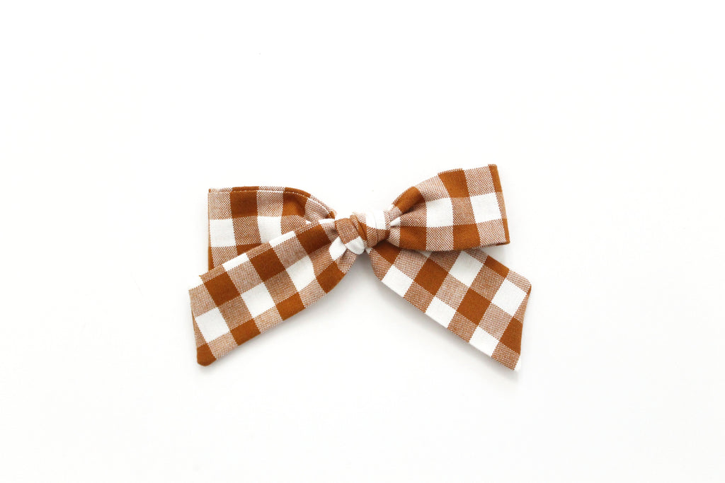 Gingham in Roasted Pecan - Oversized Hand-Tied