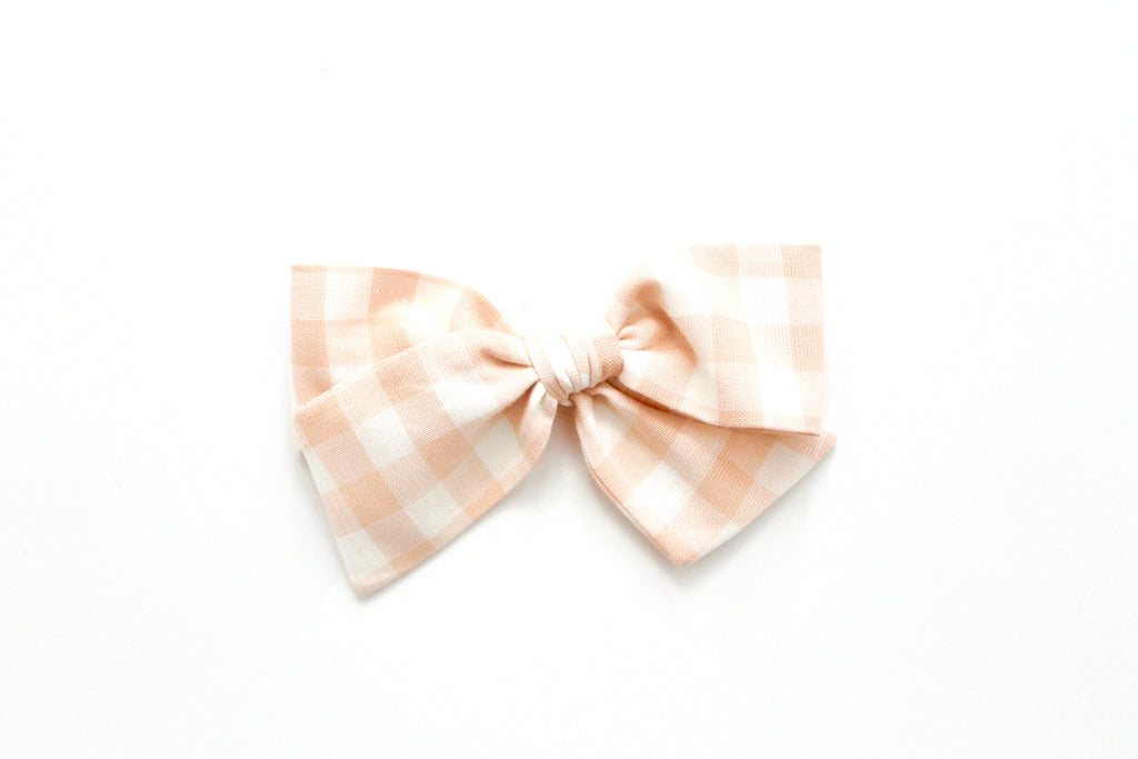 Gingham in Blush - Oversized Knot Bow