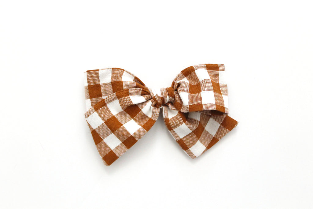 Gingham in Roasted Pecan - Oversized Knot Bow