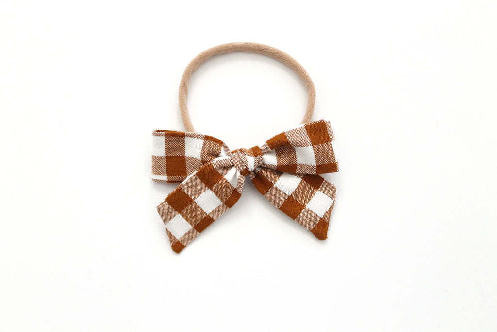 Gingham in Roasted Pecan - Mini Hand-Tied