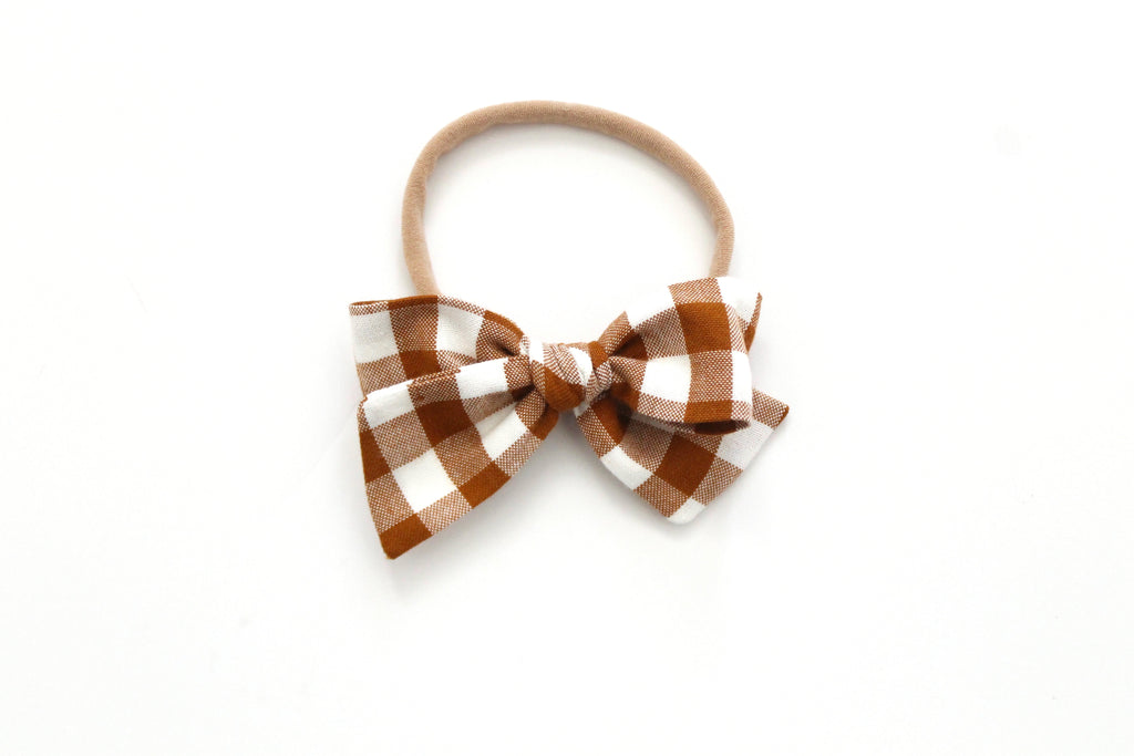 Gingham in Roasted Pecan - Mini Knot Bow