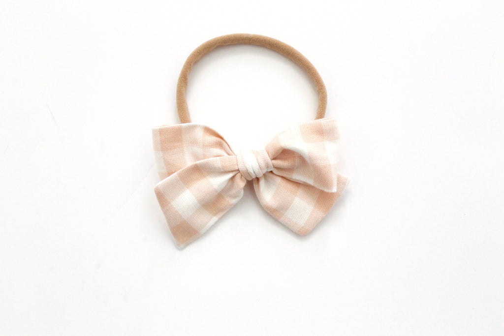 Gingham in Blush - Mini Knot Bow