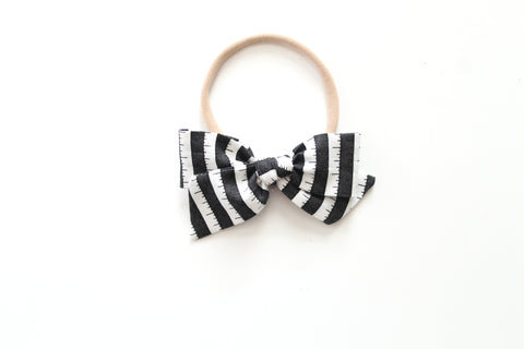 BOO Stripe in Black - Mini Knot Bow